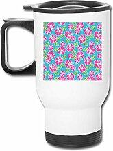 Kaffeetasse/Teebecher/Autobecher mit Blumenmotiv,