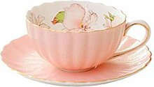 Kaffeetasse und Saucer Set Rosa Keramik Teetasse
