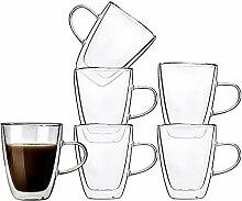 Kaffeetassen aus Glas, doppelwandig, isoliert,