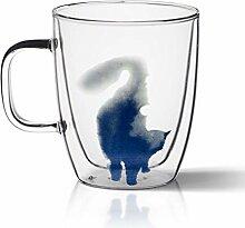 Kaffeetassen Doppel-Wand-Glas-Kaffeetasse,