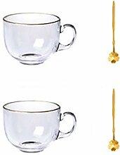 Kaffeetassen Glas Kaffeetasse Set, Becher mit