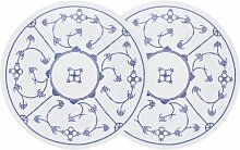 Kahla 16E150A75019H Blau Saks   Porzellan Teller-Set   Geschirr Speiseteller 2 teilig rund 23,5 cm blau weiss 2 Personen