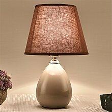 KAI-Im nordischen Stil Tischlampe Schlafzimmer Bett Lampe Keramik Amerikanische,brown
