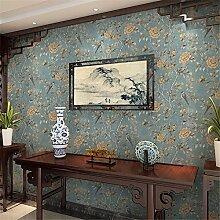 KAIRRY Moderne Vögel und Blumen Tapete Vliestapete ( Color : Blau )