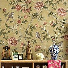 KAIRRY Moderne Vögel und Blumen Tapete Vliestapete ( Color : Gelb )