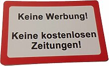 KaiserstuhlCard Magnet 2x Keine Werbung keine kostenlosen Zeitungen magnetisch und selbstklebend Aufkleber Tür Schild Türschild Briefkasten Briefkastenschild Haus Praxis Büro Geschäf