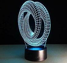 KAIYED 3D Nachtlicht Circular Abstract 3D Led M