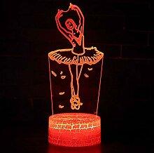 KAIYED Dekorative Tischlampe Ballettthema 3D-Lampe