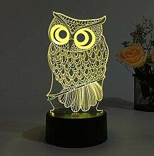 KAIYED Dekorative Tischlampe Eule 3D Lampe