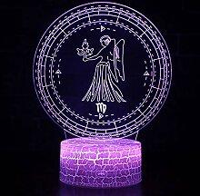 KAIYED Dekorative Tischlampe Jungfrau Thema 3D