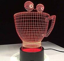 KAIYED Nachtlicht Cartoon Cup 3D Lampe Neuheit