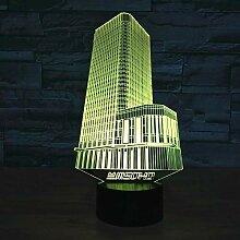 KAIYED Nachtlicht Gebäude Bunte 3D-Lampe Neuheit