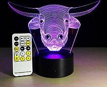 KAIYED Nachtlicht Neue Kopf 3D Lampe kreative 7