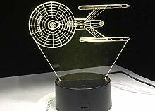 KAIYED Nachtlicht Schlachtschiff 3D Lampe