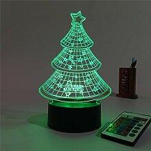 KAIYED Nachtlicht Weihnachtsbaum 3D Illusion