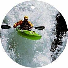 KAJAK Kayaker Kayaking Ornament rund Porzellan Weihnachten tolle Geschenkidee