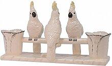 Kakadu 3 Porzellanfigur Pflanztopf Geschenkidee Wohnaccesoires Decko Handbemalt H: 20, cm