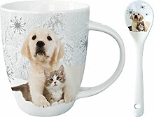 Kakao Tasse mit Löffel - In The Snow - Welpe mit Katze