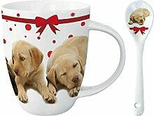 Kakao Tasse mit Löffel - Pups Parade - Labrador