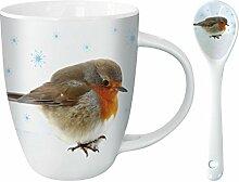 Kakao Tasse mit Löffel - Snowy Robin - Rotkehlchen