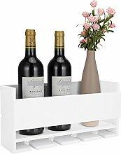 Kakivan Weißes Weinregal zur Wandmontage für 4