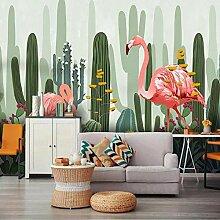 Kaktus Blume Flamingo Tapete Wandbild Wandpapier