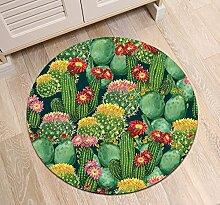 Kaktus Kaktusfeige Blumen_Rutschfest maschinenwaschbar runde Fläche Teppich Wohnzimmer Schlafzimmer Badezimmer Küche weich Teppich Bodenmatte Inneneinrichtungen 80x80 CM