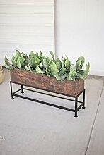 Kalalou Blumentopf aus recyceltem Holz, mit