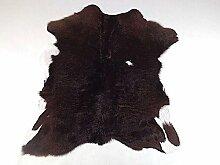 Kalbsleder Fellteppich Natür - Dunkel Braun und Weiß - 88 cm x 77 cm Echtes Designer Lederteppich von Narbonne Leder Co