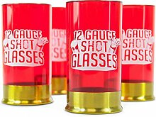 Kaliber 12 Schnapsgläser aus Kunststoff im 4er Set - Schrotflinte Likörglas Pumpgun Schnapsbecher Glas Shooter