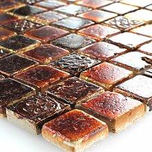 Kalkstein Marmor Stein Naturstein Mosaik Fliesen Rot Braun Mix