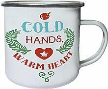 Kalte Hände Warmes Herz Retro, Zinn, Emaille 10oz/280ml Becher Tasse j529e