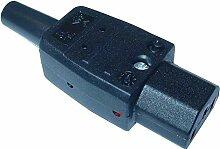Kaltgerätekupplung schwarz, VDE, Gerätestecker.