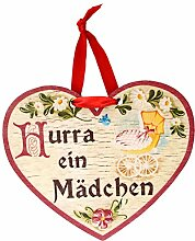 Kaltner Präsente Geschenkidee - Holz Geschenkherz Glückwunsch Herz im Antik Design Motiv Taufe Geburt Hurra ein Mädchen (150x 120x 5 mm)