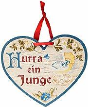 Kaltner Präsente Geschenkidee - Holz Geschenkherz Glückwunsch Herz im Antik Design Motiv Taufe Geburt Hurra ein Junge (150x 120x 5 mm)