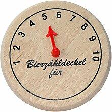 Kaltner Präsente Geschenkidee - Insektenschutz für Gläser aus echtem Holz / Bier Wein Bierdeckel Biergläser Weingläser Tassen Biergarten / Motiv Humor zur individuellen Beschriftung - Bierzähldeckel für...