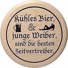 Kaltner Präsente Geschenkidee - Insektenschutz für Gläser und Getränke aus echtem Holz / Bier Wein Bierdeckel Biergläser Weingläser Tassen / Motiv Humor - Kühles Bier und junge Weiber