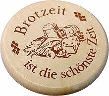 Kaltner Präsente Geschenkidee - Insektenschutz für Gläser und Getränke aus echtem Holz / Bier Wein Bierdeckel Biergläser Weingläser Tassen Biergarten / Motiv Humor - Brotzeit ist die schönste Zei