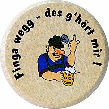 Kaltner Präsente Geschenkidee - Insektenschutz für Gläser und Getränke aus echtem Holz / Bier Wein Bierdeckel Biergläser Weingläser Tassen Biergarten / Motiv Humor - Finga wegg des g´hört mir !