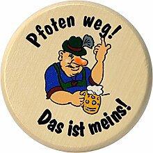 Kaltner Präsente Geschenkidee - Insektenschutz für Gläser und Getränke aus echtem Holz / Bier Wein Bierdeckel Biergläser Weingläser Tassen Biergarten / Motiv Humor - Pfoten weg! Das ist meins!