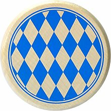 Kaltner Präsente Geschenkidee - Insektenschutz für Gläser und Getränke aus echtem Holz / Bier Wein Bierdeckel Biergläser Weingläser Tassen Biergarten / Motiv Bayern - Raute Blau Weiß
