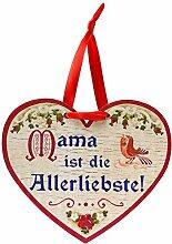 Kaltner Präsente Geschenkidee Muttertag - Herz aus Holz mit Kompliment für die Mutter Mama ist die Allerliebste (150x 120x 5 mm)