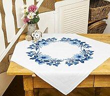 Kamaca Stickpackung Blauer Blumenkranz Tischdecke
