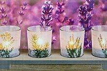 Kamaca XL Holzteller mit LED Kerzen Set aus 4 Glas