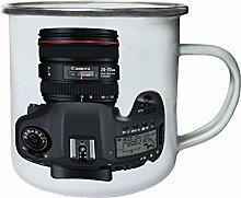 Kamera-Foto-Weinlese-Neuheit-neue lustige Kunst Retro, Zinn, Emaille 10oz/280ml Becher Tasse c822e