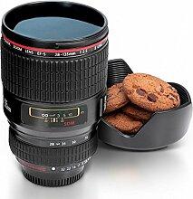 Kameraobjektiv Kaffeebecher mit Keksschale in schwarz - Lens Kaffeetasse Objektiv Tasse Foto Trinkbecher mit Keksschale
