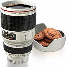 Kameraobjektiv Kaffeebecher mit Keksschale in weiß - Lens Kaffeetasse Objektiv Tasse Becher Becher mit Keksschale