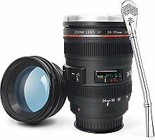 Kameraobjektiv-Kaffeetasse mit Saugnapf auf Unterseite, LanChuon BecherTasse Edelstahl Tumbler Cup - cooles Geschenk EF 24-105mm f / 4L IS USM Objektiv Look