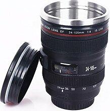 Kameraobjektiv-Schale, Edelstahl-Objektiv-Becher / Thermos-Kaffee-Trommel, Isolierter Kameraobjektiv-Becher mit trinkendem Deckel (Schwarz)