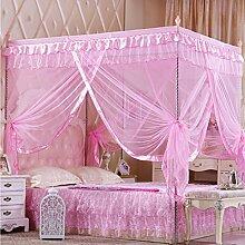 KAMIERFA Fantasie Quadratisch Lace Bett Moskitonetz Fliegennetz S Pink